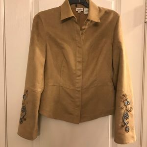 Faux Suede Jacket with Bead Detail